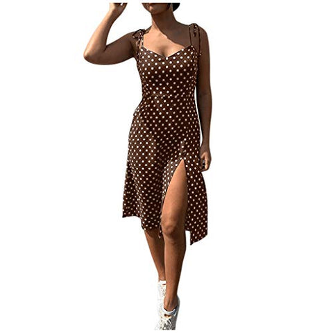 HIRIRI Women's Polka Spaghetti Strap High Waist V-Neck Sundress Summer Ruffle Flare Mini Slip Dress Coffee