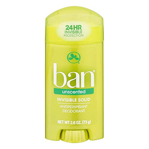 Ban Deodorant 2.6 Ounce Invisible Solid Unscented (76ml) (6 Pack)