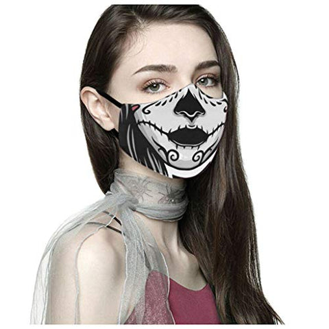 Owill Adult Reusable Halloween Print Face_Mask_Covering Funny Fashion Bandanas, Washable Breathable Outdoor Face Scarf for Women Men?USA in Stock ? (D)