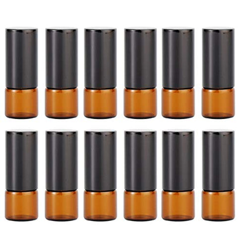 Exceart 12 Pcs Essential Oil Roller Bottles Set Amber Empty Glass 1ml Stainless Steel Roller Balls Bottles Container Refillable Bottles for Trip Travel Women