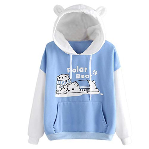 Meikosks Cute Sweatshirt for Womens Bear Graphic Pullover Color Block Tunic Tops Long Sleeve Hoodies