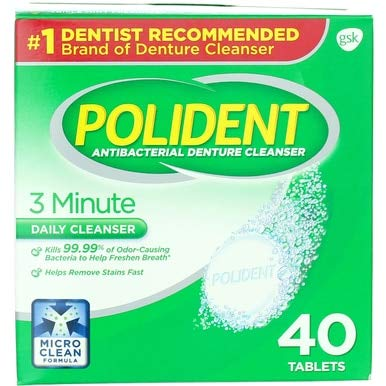 Polident 3 Minute Antibacterial Denture Cleanser Tablets - 40 ct, Pack of 4