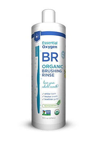 Essential Oxygen Certified Br Organic Brushing Rinse, All Natural Mouthwash For Whiter Teeth, Freshe