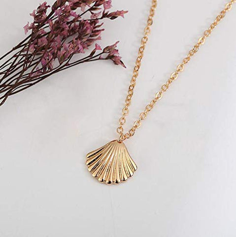 Jovono Fashion Shell Pendant Necklaces Dainty Necklace Chain Jewelry for Women and Girls (Gold)