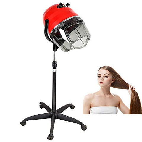 Professional Stand Hair Dryer With Bonnet Hood Hair Steamer Adjustable Stand Style With Rolling Wheels, Salon Beauty Equipment 1100 W(RED)