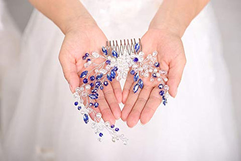 Denifery Bridal Hair Comb Blue Vintage Crystal Rhinestone Vintage Hair Comb Wedding Party Hair Accessories for Women and Girls