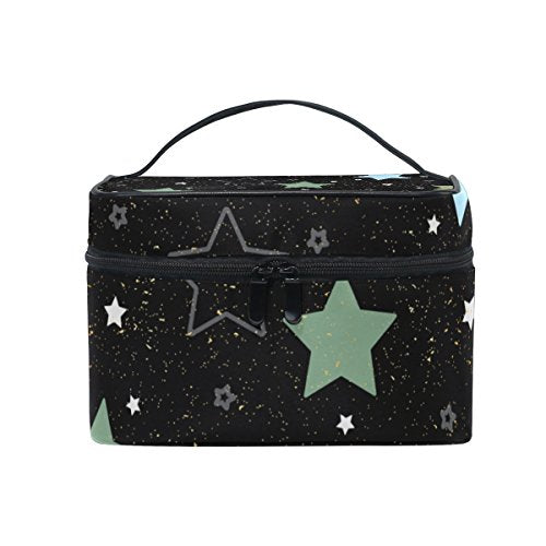 Cooper girl Colorful Star Cosmetic Bag Travel Makeup Train Cases Storage Organizer