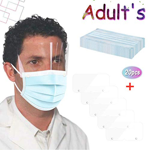 Owill Adult Face_Masks with Detachable Eyes Protection for Adult,3-Ply Breathable Safty Full Face Outdoor Anti-Haze Dustproof Face Protection?USA in Stock ? (Blue 20PC_Mask+5PC Eyeshield)