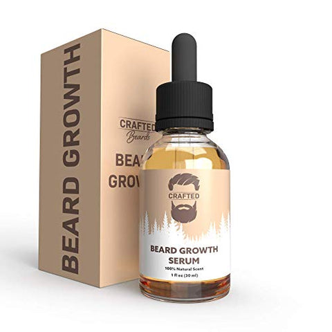 Beard Growth Oil - Crafteds Beard Growth Serum - Help Fill in Patchy or Bald Spots in 4-8 Weeks - Get a Thicker, Fuller, Healthier Beard - Best Gift For Men