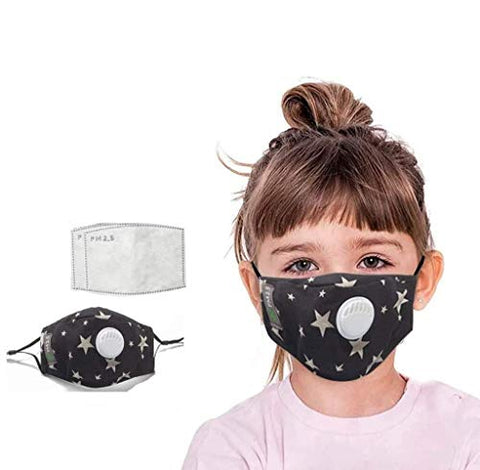 Gokeop 2Pcs PM2,5 Face Protection + 4Pcs Pads for Kids, Keep Children Safe and Healthy, Cartoon Star Pattern Kids Face Covering for School, Outdoor and Sports, 12.4x8.5CM, Black