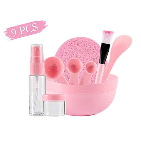 DXR 9 Pcs Lady Facial Care Mask Facemask Mixing Tool Sets Mask Bowl Stick Brush Spoon Spray Bottle Cleaning Mat