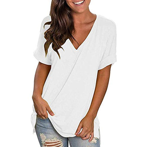 terbklf Ladies Solid Loose Tops Shirt Women Summer V-Neck Short Sleeve Basic Shirt Casual Tunic Tops Blouse Solid Color White