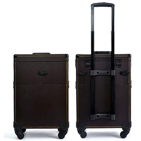 Professional Rolling Makeup Train Case Cosmetic Trolley Case Beauty Artist Luggage Organizer Box with 4 Universal Wheels (14.569.4422.83 in), B