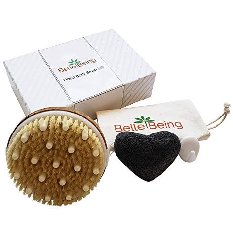 Dry Brush Set for Dry Brushing and Exfoliating. Natural Bristle Body Brush & Exfoliating Body Sponge Help With Lymphatic Drainage and Anti Cellulite Massager. Dry Brushing Set Also Includes Travel Bag