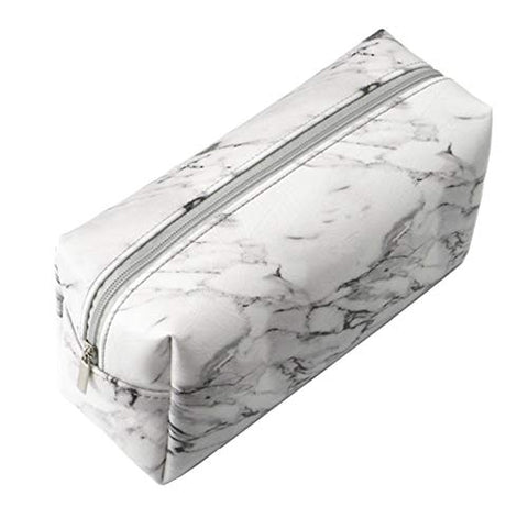Makeup Bag,Makeup Bag SoFull Marble Grain Travel Makeup Cosmetic Bag Zipper Faux Leather Toiletry Pencil Case - White
