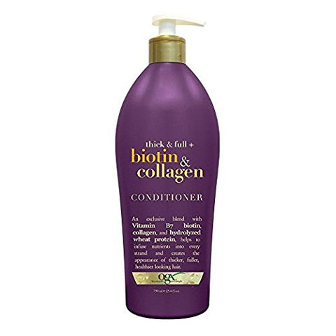 OGX Thick & Full Biotin & Collagen Conditioner, Salon Size, (Pack of 2) 25.4 Ounce Bottle, Paraben Free, Sulfate Free, Sustainable Ingredients, Nourishing and Strengthening OGX