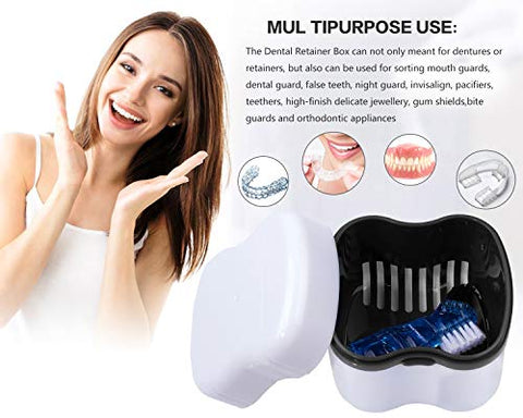 Denture Brush Retainer Case, Denture Case,Denture Cups Bath,Dentures Container with Basket Denture Holder for Travel,Mouth Guard Night Gum Retainer Container (black)