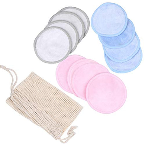 HEALLILY Reusable Makeup Remover Pads Double Layer Bamboo Fiber Pads 13pcs (Assorted Color)