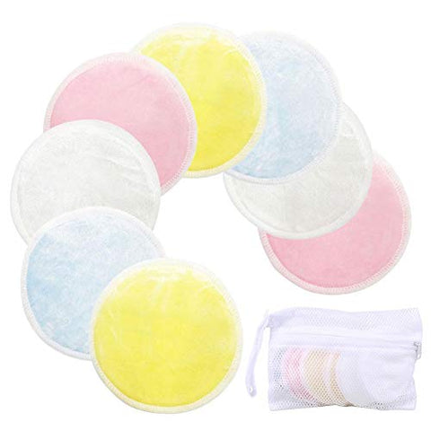 Reusable Makeup Remover Pads 8 Pack with Laundry Bag - Organic Bamboo Velour (3.15 inch)