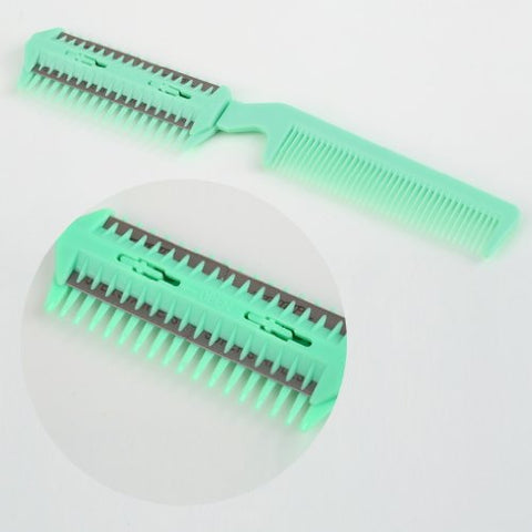 DIY Hair Thinning Razor Comb Blade Barber Cutting Scissor Professional Home Trimmer Hair Cut Brush, Green