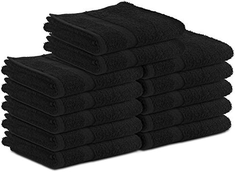 Cotton Salon Towels (24-Pack, Black,16x27 inches) - Soft Absorbant Quick Dry Gym-Salon-Spa Hand Towel