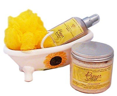 Castle Baths - Prayer Bath and Body Spa Bath Gift Basket- with Tub - Lavender Bergamot Rose Pink Grapefruit