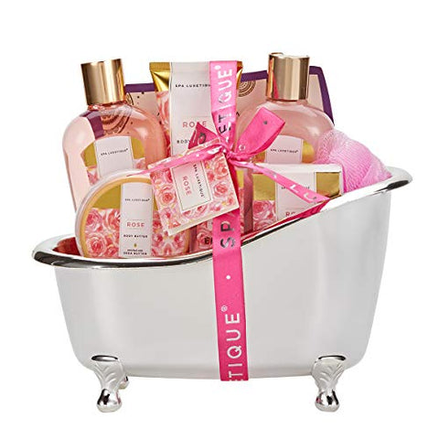 Spa Luxetique Spa Gift Baskets for Women, Rose Gift Baskets for Women, Luxurious 8pc Bath Set, Home Spa Gift Set with Bath Bombs, Bath Salts, Bubble Bath, Body Lotion, Best Gift Set for Women.