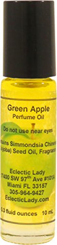 Green Apple Perfume Oil, Small - Organic Jojoba Oil, Roll On, 0.3 oz