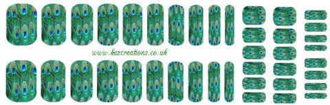 Peacock Collection (Peacock Nail Wrap Shield adult and child sizes)