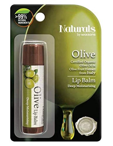 WATSONS Olive Lip Balm 4.5g-Watsons Olive Lip Balm Contains a Unique Blend of Certified Organic Ingredient Designed to moisturise and Help Prevent chapped Lips