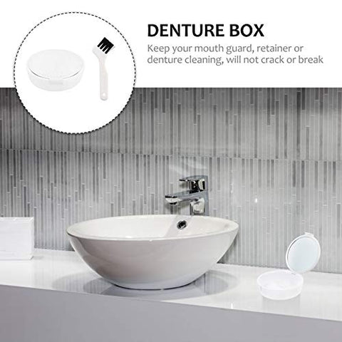 HEALLILY Denture Case Denture Cups Bath Dentures Container with Mirror and Denture Brush for Travel Cleaning White