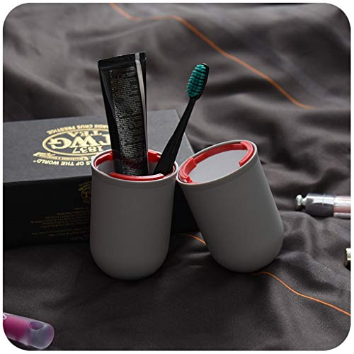 Travel Wash Cup Toothbrush Box Toothpaste Portable Multi-function Mug Cup Couple With Lid (Color : Blue)