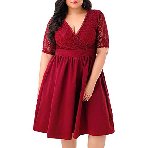 haoricu Women's Vintage Full Lace Contrast Flare Sleeve Big Swing A-Line Dress Ladies Plus Size Dress Red