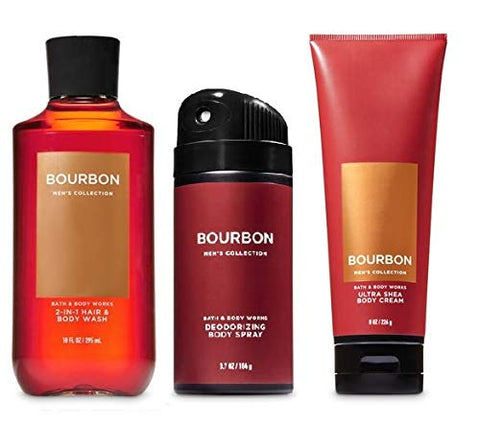 BATH AND BODY WORKS, GIFT SET BOURBON FOR MEN ~ BODY WASH ~ BODY CREAM AND DEODORIZING BODY SPRAY- FULL SIZE