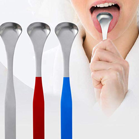 EXCEART 3pcs Tongue Scraper Stainless Steel Tongue Coating Cleaner Portable Tongue Brush Cleaning Tools Hygiene Dental Oral Care Supplies