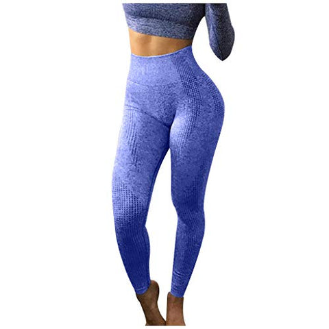 haoricu Women's High Waist Workout Compression Seamless Fitness Yoga Leggings Butt Lift Active Tights Stretch Pants Dark Blue