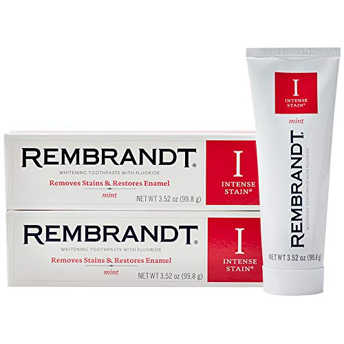 Rembrandt Intense Stain Whitening Toothpaste, Mint Flavor, 3.5 Ounce (2 Pack)