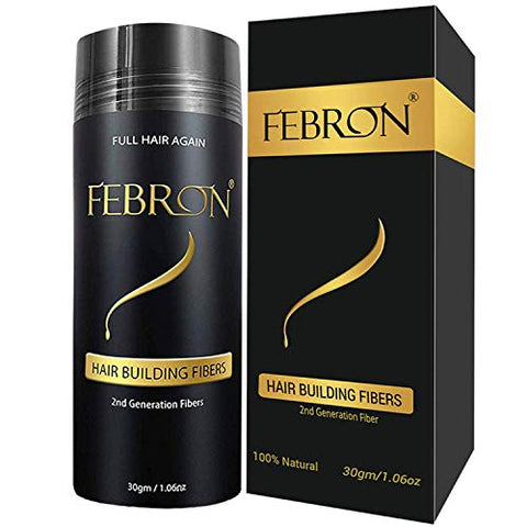 FEBRON Hair Fibers For Thinning Hair BLACK Giant 30G For Women & Men Hair Loss Concealer Hair Powder Volumizing Based 100% Undetectable & Natural - Bold Spots Filler