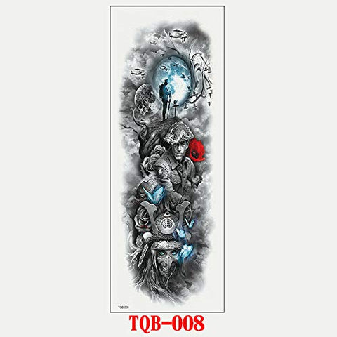 Full Arm Tattoo Sticker Full Arm Tattoo Post Full Arm Waterproof Sticker Person 17X48Cm 4Pc