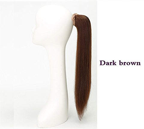 Straight Human Hair Ponytail Extensions Wrap Around 100% Remy Human Hair Clip in Ponytail Linen yellow Yudit 16