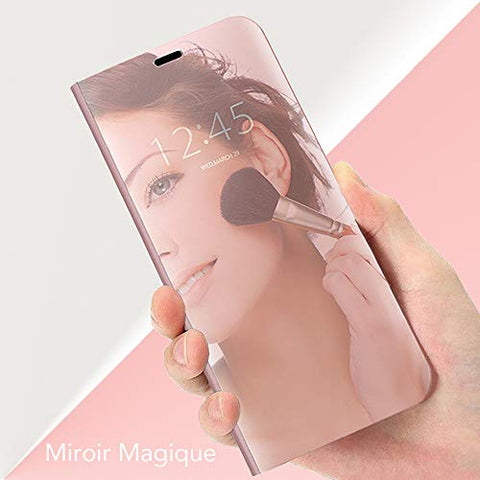 Mistars Mirror Case for Galaxy J4 Plus 2018 Rose Gold, Premium PU Leather Flip Case + Hard PC Back Cover Luxury Clear View Design Protective Shell with Stand Function for Samsung Galaxy J4 Plus 2018