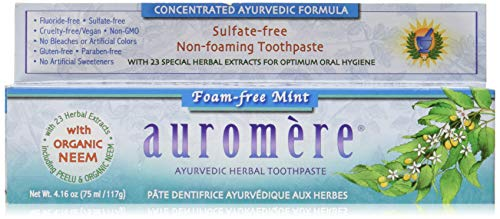 Ayurvedic Herbal Toothpaste Foam-Free Mint by Auromere - Fluoride-Free, Natural, with Neem, Vegan and Sulfate-Free - 4.16 oz