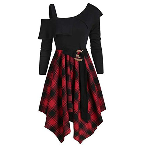 jin?Co Mini Dresses for Women Plus Size Off Shoulder Waist Irregular Plaid Casual Dress Fashion Long Sleeve Swing Dress Red