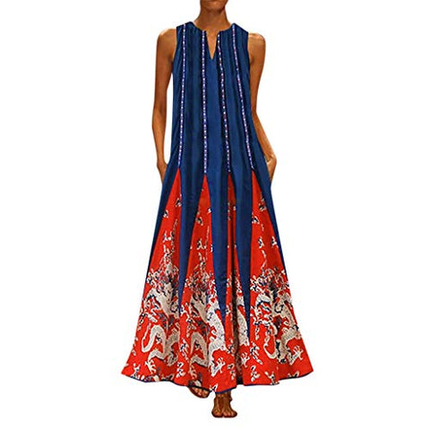 TEVEQ Women Maxi Dress Vintage Dresses for Women Plus Size Dress Sleeveless Floral Summer Boho Dress Red