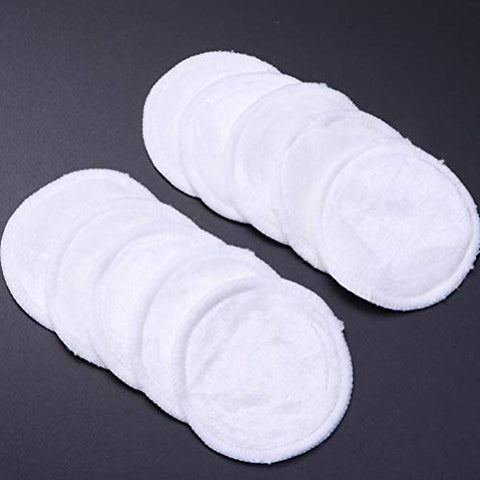 Beaupretty Reusable Makeup Remover Pads and Microfiber Face Cleansing Gloves, Makeup Pads Soft Three Layers Bamboo Fiber with Laundry Bag, 10 pcs 1 Set