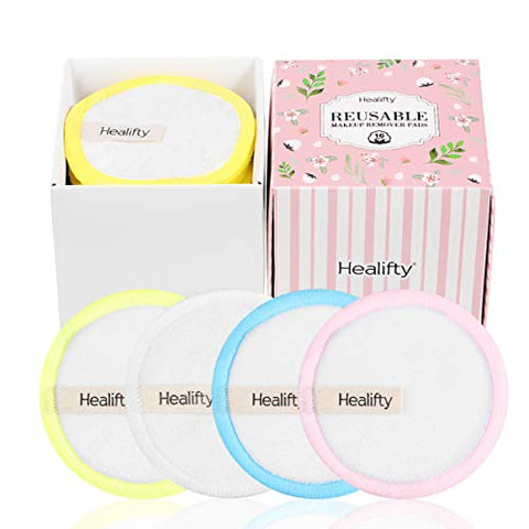 Healifty Reusable Cotton Pads - 16 PCS - Bamboo Makeup Remover Pads with Laundry Bag, Organic, Eco-friendly, Soft, 3 Layer Thicken, Diameter 8cm