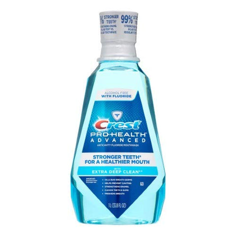 Crest Pro-Health Advanced Alcohol Free Fluoride Anticavity Extra Deep Clean Mouthwash Fresh Mint (Pack of 4)