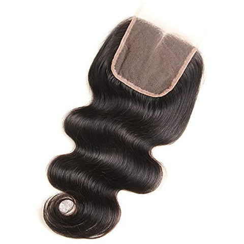 Hairpieces Fashian Body Wave Lace Frontal with Closure - Real Natural Wave Curly Hair Weave Weft Human Hair Extensions - Natural Black for Daily Use and Party (Color : Black, Size : 20 inch)