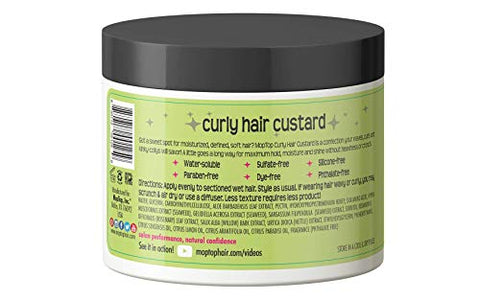 MopTop Curly Hair Custard Gel for Fine, Thick, Wavy, Curly & Kinky-Coily Natural hair, Anti Frizz Curl Moisturizer, Definer & Lightweight Curl Activator w/Aloe, great for Dry Hair. (8oz)