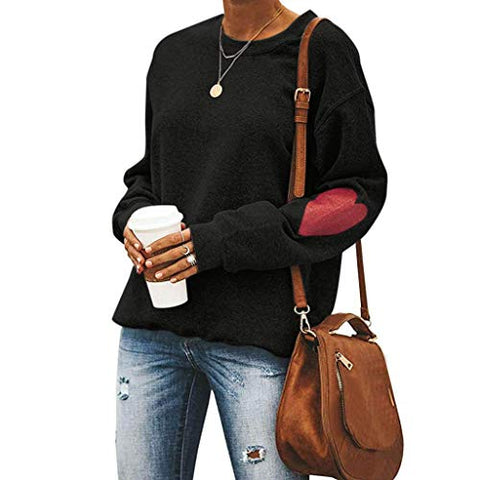 Xinantime Womens Casual Solid Color O-Neck Love Print Loose Sweatshirt Valentine's Daily Blouse Tops (Black,XS)
